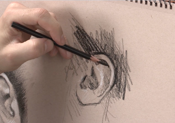 Learn To Draw, Portraits, Drawing Portraits, Alain Picard, Video Demonstration, Drawing Demonstration, The Portrait, Drawing the Ear, Drawing Ears,