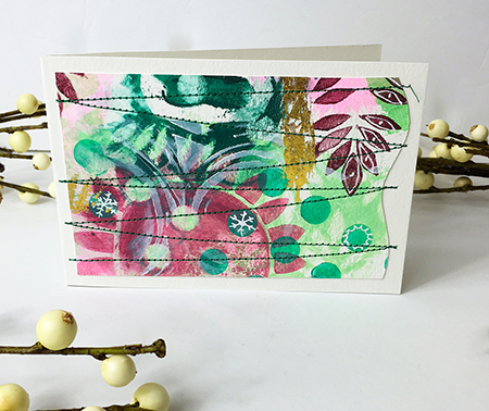 Holiday card made with layered stencils