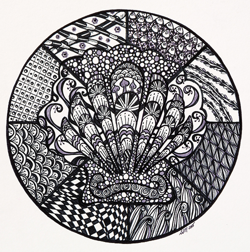 Doodled stencil design by Susan Ste. Marie