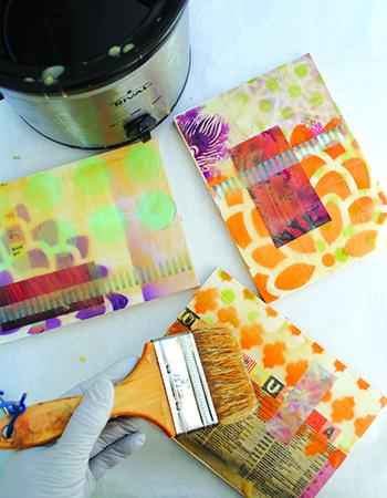 Encaustic wax and stenciling by Lisa Thorpe
