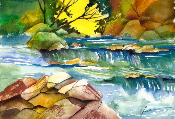 Watercolor Painting: Paint a Rushing River