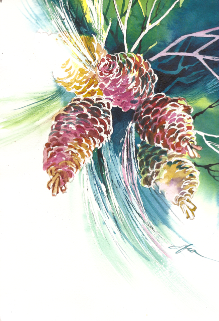 Watercolor Painting Nature: Pine Cones