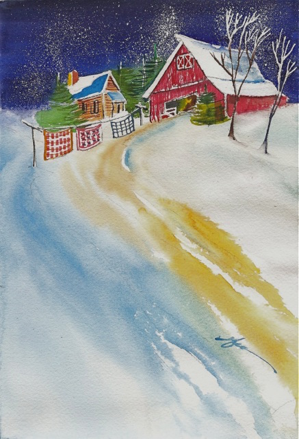 Watercolor Painting for Snowy Landscape with Christmas Quilt