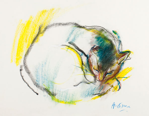 Cat (pastel) by Abel Kesteven | pastel figures