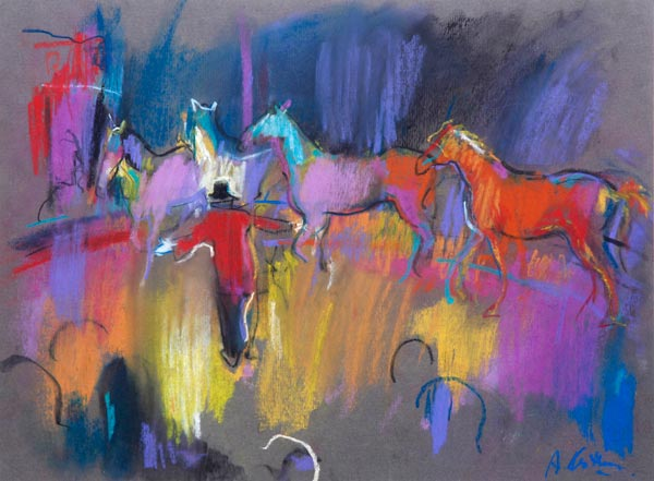 Circus Horses 2 (pastel) by Abel Kesteven | pastel figures