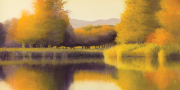 Reverie of Golden Light (pastel, 20x40) by Jeanette Rehahn | pastel landscapes