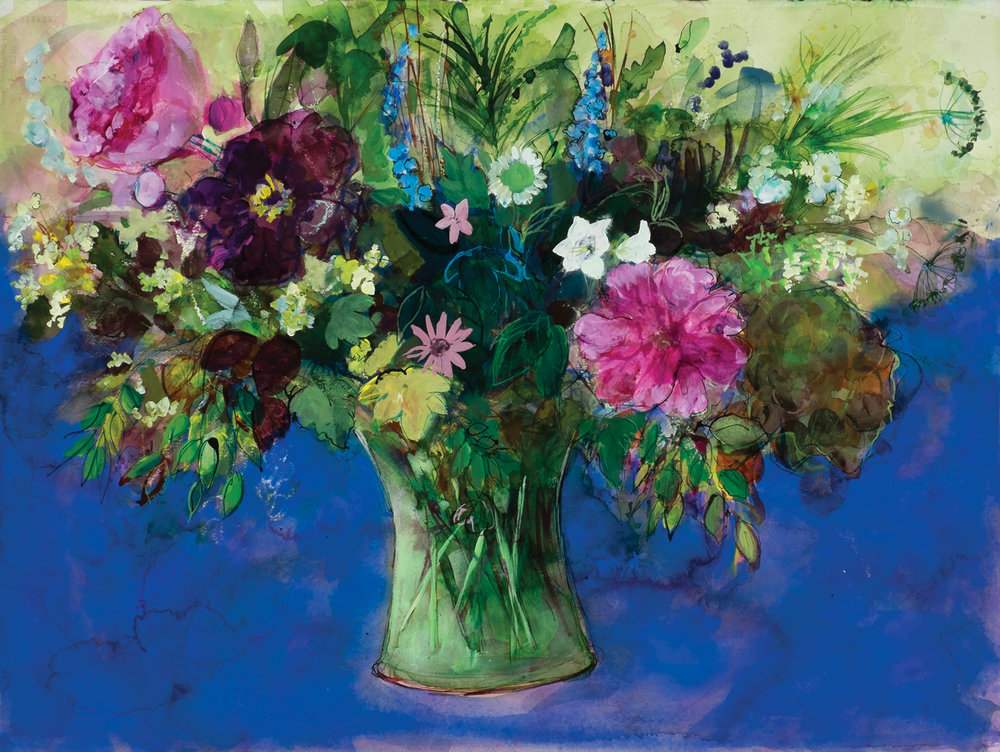 pastel_with_mixed_media_ann-oram_peonies-and-other-june-flowers-in-blue | artistsnetwork.com