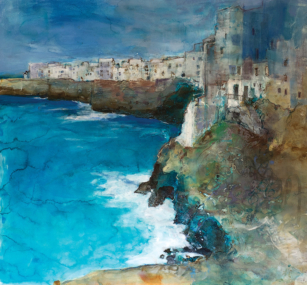 pastel_with_mixed_media_landscape_polignano_ann_oram | artistsnetwork.com
