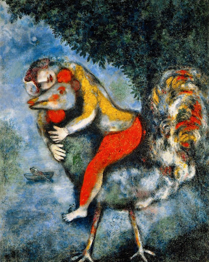 Gallery painting of a rooster by Marc Chagall.