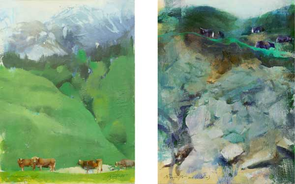A Serene Day I and III (oil on canvas, 12x9 each) by Devdatta Padekar
