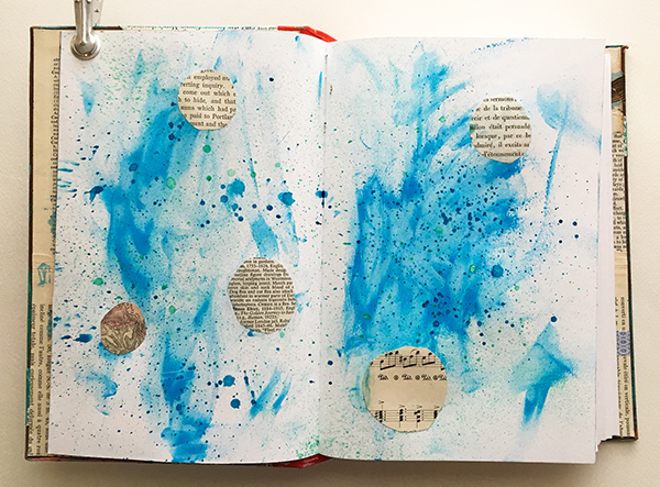 Acrylics and spray inks on a mixed-media planner spread