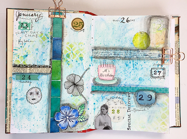Mixed-media planner spread