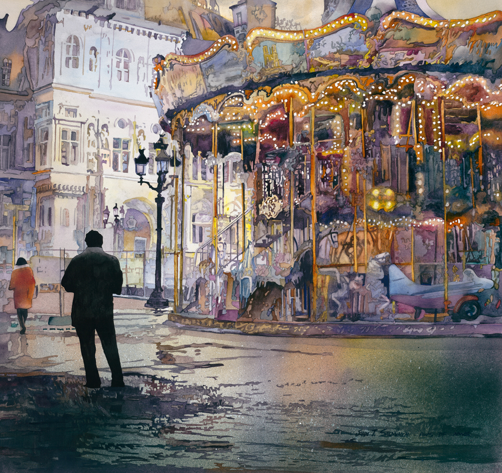 Carousel of Paris by John Salminen, watercolor painting.