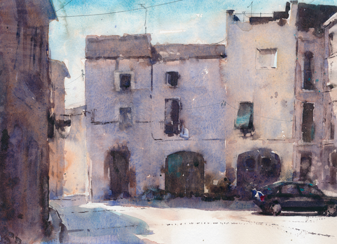 watercolor cityscapes_Castello d'Empuries Spain (watercolor on paper) by Daniel Napp | artistsnetwork.com