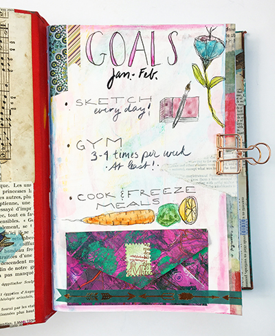 Mixed-media planner goals page