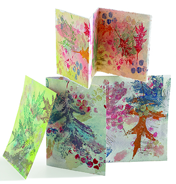 Nature printing with leaves from Cloth Paper Scissors magazine
