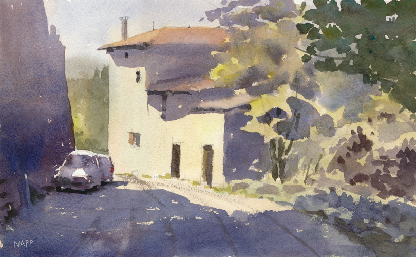 watercolor cityscapes_La Begude Route de Chateauneuf (watercolor on paper) by Daniel Napp | artistsnetwork.com