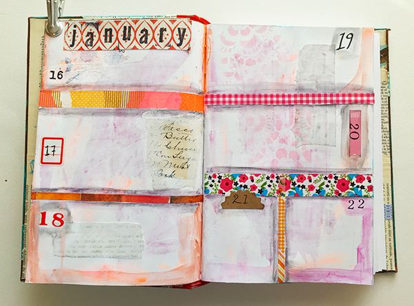 Adding depth and shadow to mixed-media planner pages