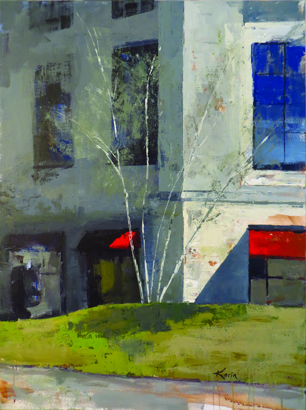 Red Awnings, McKay Tower (40×30 acrylic on canvas) Karin Nelson