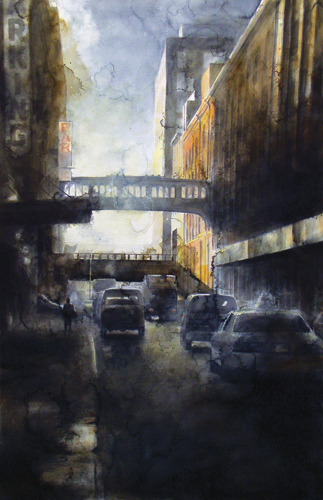 watercolor_cityscape | West 15th Street NBC Buildings (watercolor on paper) by Tim Saternow | artistsnetwork.com