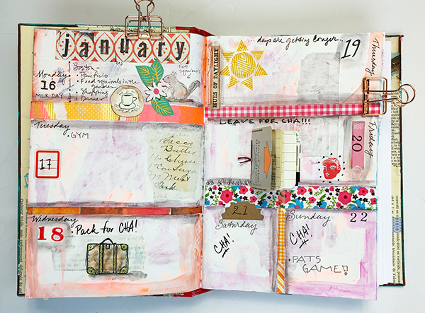 Finished mixed-media planner spread
