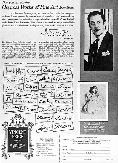 Vincent Price Flyer for Original Gallery Paintings from Sears