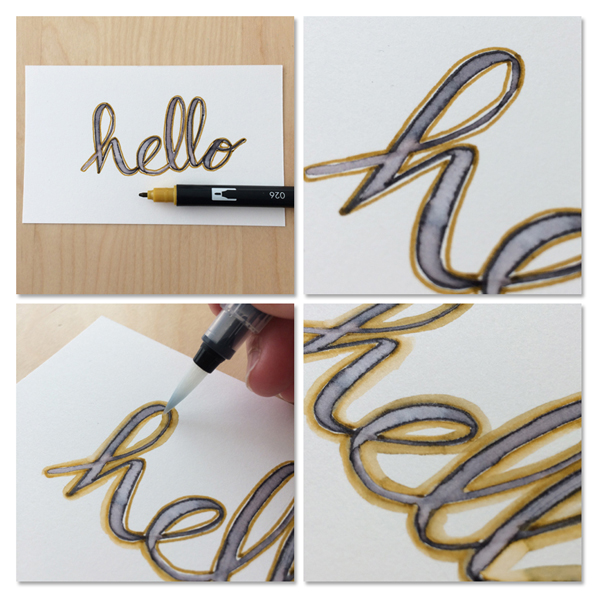 adding color to lettering with water brush