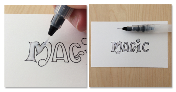 add shading to lettering with water brush