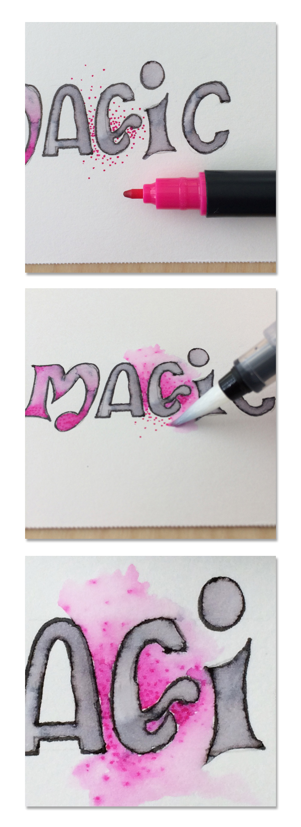 water brush lettering color