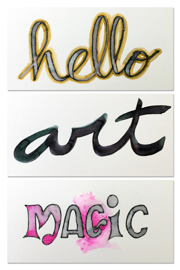 three words using water brush and markers for lettering