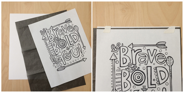 transfer paper watercolor step 1-2
