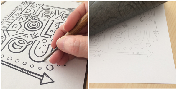 transfer paper watercolor step 2-3