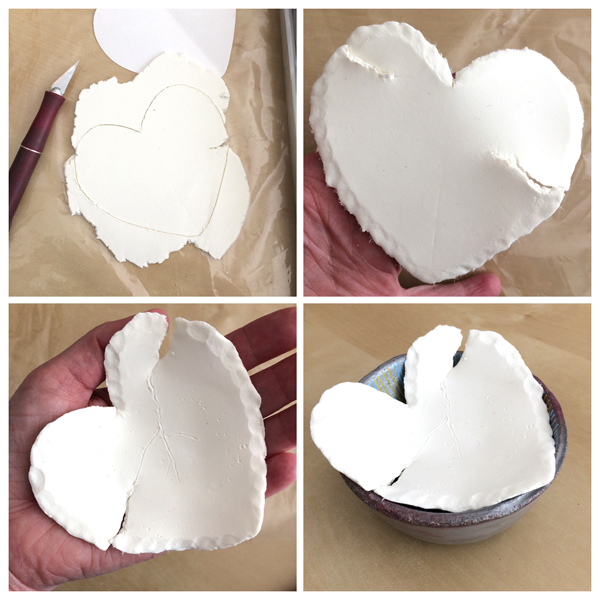 shape paper clay heart bowl