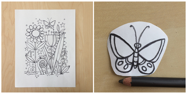 graphite transfer stamp carving