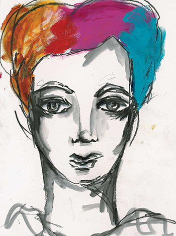 Create hair for mixed-media faces by drawing in the shape and coloring it.
