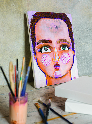 Examining your own features helps to create a successful self-portrait.