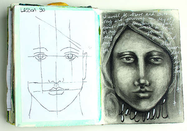 Mapping the features helps to create perfectly proportioned mixed-media faces.
