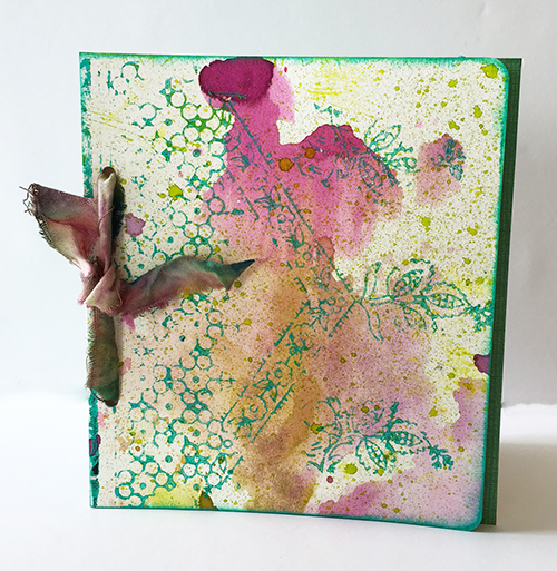 Card made with vintage art materials and abstract blocks