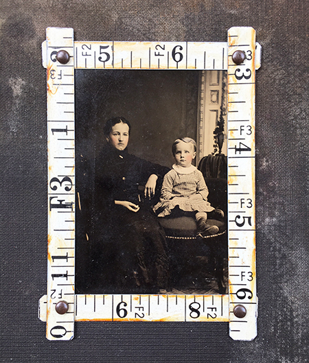 Frame made from vintage metal tape measure pieces