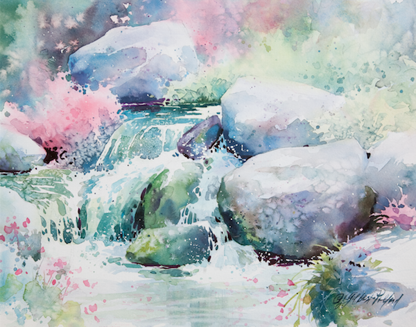 Painting Cascading Water in Watercolor by Julie Gilbert Pollard