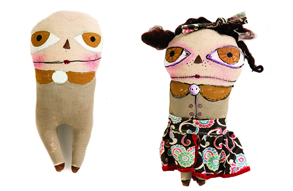 For funky mixed-media doll faces, exaggerate the features and use paint for bold, opaque color.