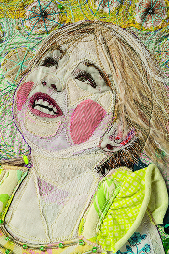 Add dimension to mixed-media faces with fabric and stitch.