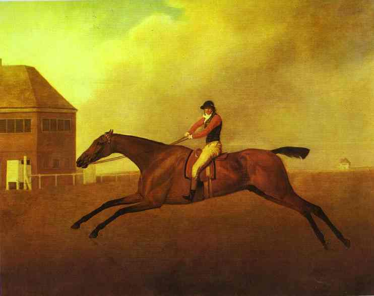 Baronet by George Stubbs, 1794. Stubbs is known for his equine interests and paintings that capture the anatomy and grace of horses in motion. More illustrative than many of his other works, Baronet captures the movement and unity of horse and rider, albeit in a more abstracted way than was typical for the artist.
