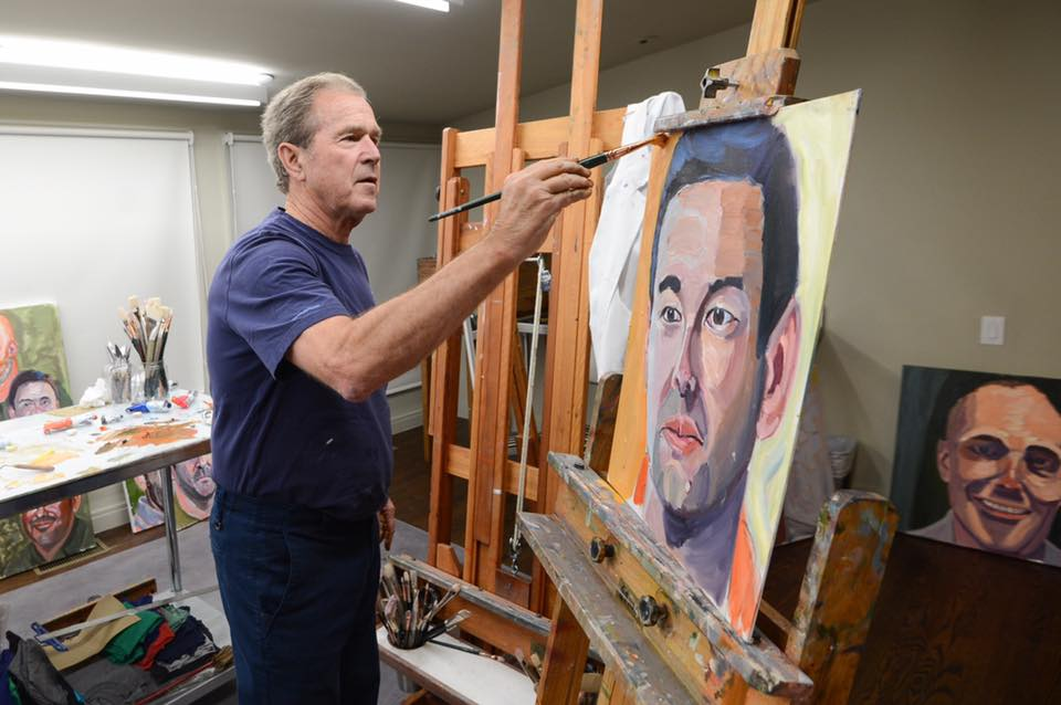 The artist working on one of his veteran portrait paintings, set to go on exhibit at Southern Methodist University in March.