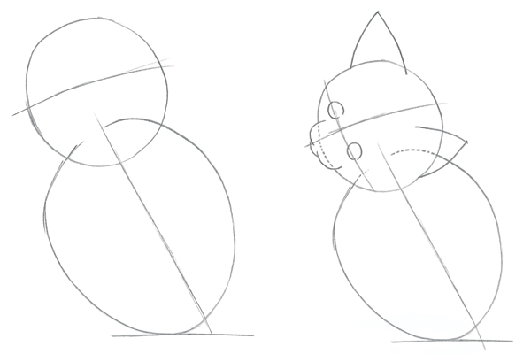 how to draw animals draw a simple kitten