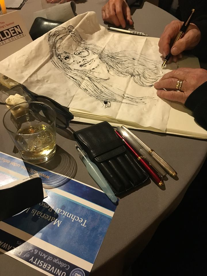 Michael Storie of Pentel unfolded his napkin for an impromptu portrait sketch amidst whiskey, a quartet orchestra, and dinosaur bones at a special event at the Natural History Museum of Utah. Thanks Michael & thanks Art Materials World!