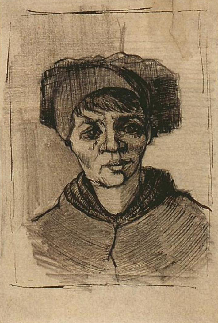 Head of a Woman by Vincent Van Gogh, portrait drawing with pencil and ink on paper, 1884-85.