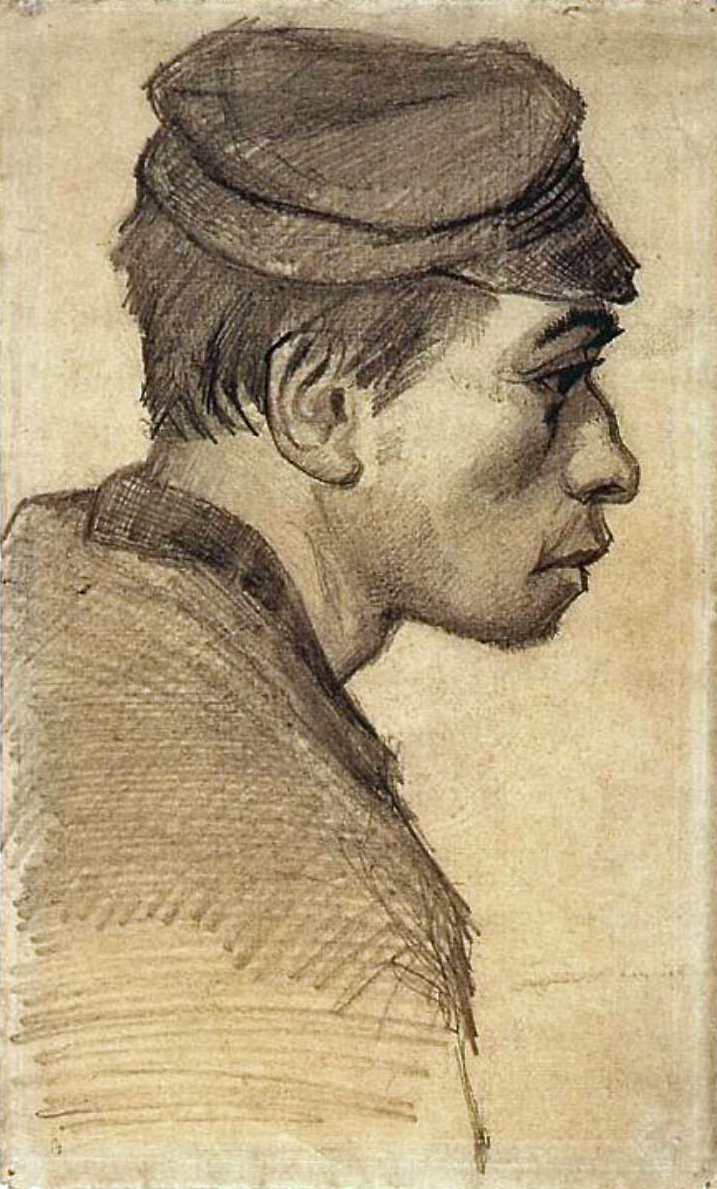 Head of a Young Man by Vincent Van Gogh, portrait drawing, 1884-85.