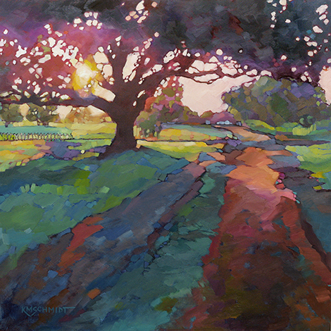 One of our favorite paintings of an oak tree by Karen Mathison Schmidt.