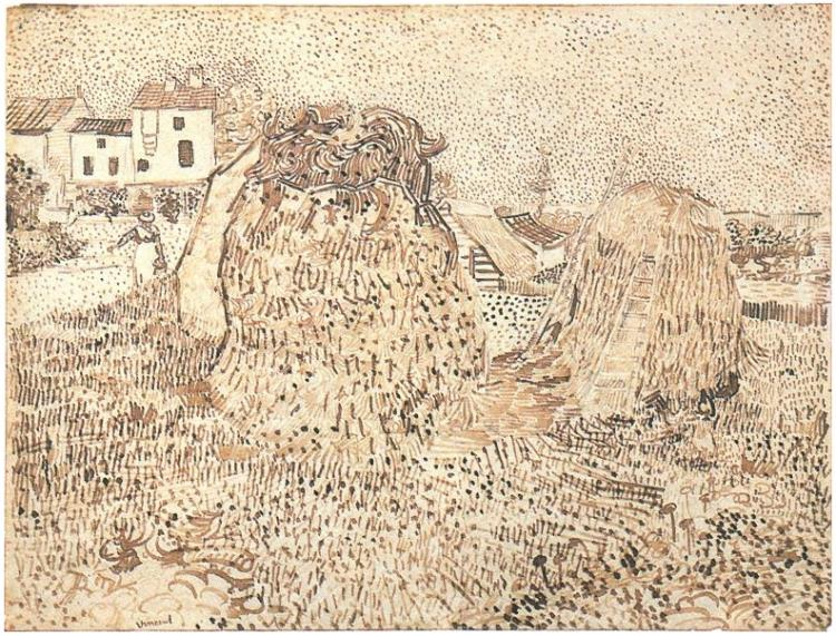 Haystacks Near a Farm by Vincent Van Gogh, drawing